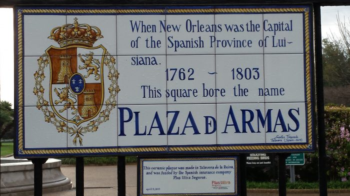 Spain was here first and decided to return. Tile plaques are everywhere in the French Quarter.